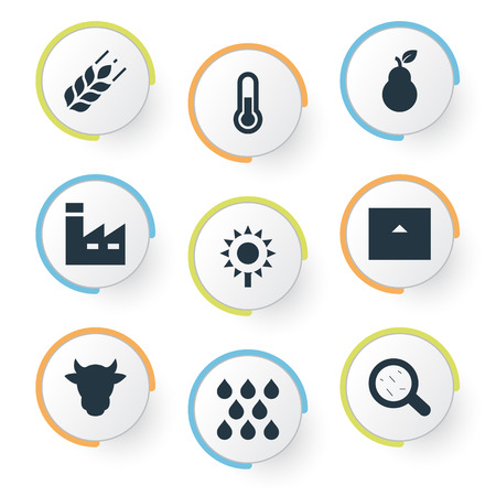 Vector Illustration Set Of Simple Harvest Icons. Elements Farmhouse, Virus, Temperature Measurement And Other Synonyms Sunflower, House And Industry.