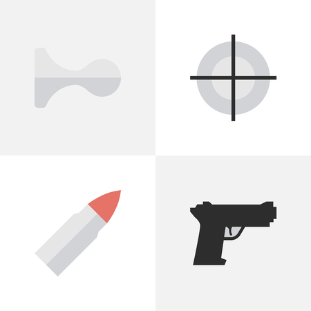 Vector Illustration Set Of Simple Crime Icons. Elements Sniper, Weapon, Hunting And Other Synonyms Goal, Deer And Sniper. Illustration