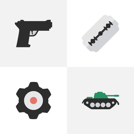 Vector Illustration Set Of Simple Crime Icons. Elements Cogwheel, Blade, Military And Other Synonyms Tank, Gear And Mechanical.