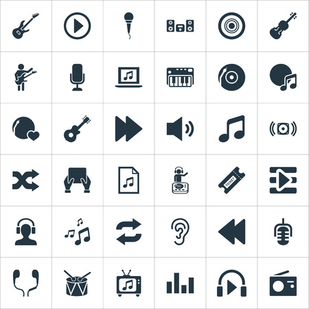 Elements Fiddle, Record, Playboy And Other Synonyms Microphone, Tag And Headphone.  Vector Illustration Set Of Simple Melody Icons. Reklamní fotografie - 85820940