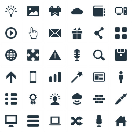 rectangle: Elements Wizard Stick, Randomize, Monitor Synonyms Shuffle, Microphone And Navigation.  Vector Illustration Set Of Simple Design Icons. Illustration
