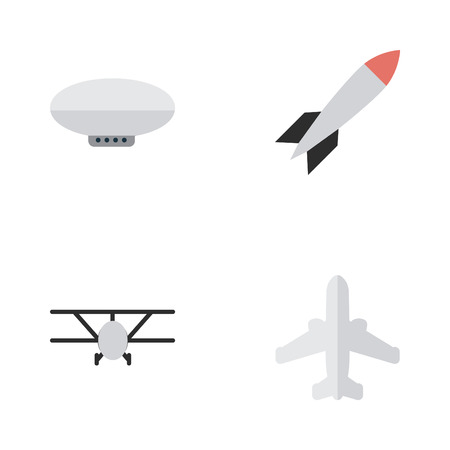 Elements Balloons, Airplane, Airliner And Other Synonyms Rocket, Aircraft And Craft.  Vector Illustration Set Of Simple Airplane Icons. Illustration