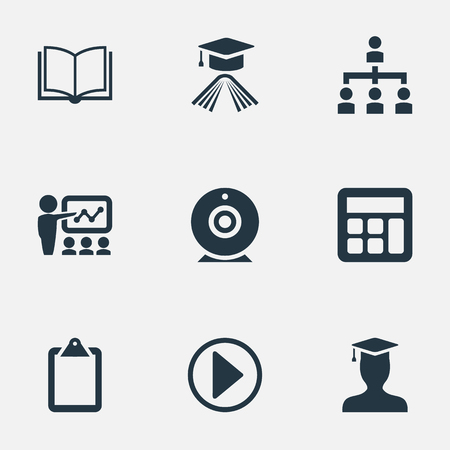 Elements Student, List, Publishing House And Other Synonyms Diploma, Master And Camera.  Vector Illustration Set Of Simple Training Icons. Ilustrace