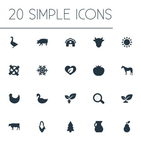 Elementen Bodem, gebladerte, boerderij en andere synoniemen Kiemen, dieren en maïs. Vectorillustratiereeks Eenvoudige Ecologiepictogrammen.