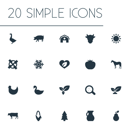 Elements Soil, Foliage, Farmhouse And Other Synonyms Germs, Animal And Corn.  Vector Illustration Set Of Simple Ecology Icons.