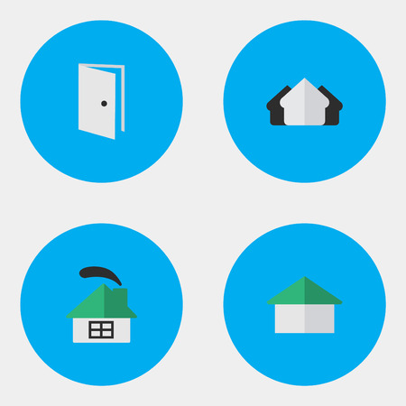 要素住居、財産、エントリおよびその他の同義語ドア、オープンとハウス。 シンプルエステートアイコンのベクトルイラストセット。
