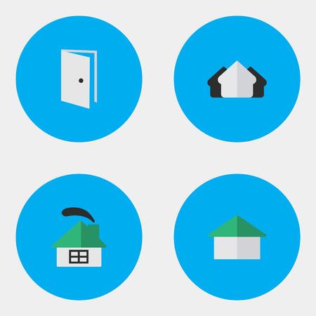 요소 주거, 속성, 항목 및 기타 동의어 문, 열기 및 집. 벡터 일러스트 레이 션 간단한 부동산 아이콘의 집합입니다.
