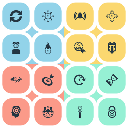 Vector Illustration Set Of Simple Management Icons. Elements Limits, Goal, Velocity And Other Synonyms Management, Refresh And Limits.