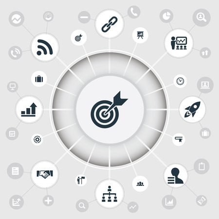 advantages: Vector Illustration Set Of Simple Strategy Icons. Elements Literature, Accomplishmeent, Rocket And Other Synonyms Bookmark, Target And Time.