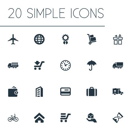 Elementen Beloning, betalen, Express Carriage en andere synoniemenbouw, vrachtwagen en zandloper. Vectorillustratiereeks Eenvoudige Overhandigingspictogrammen.