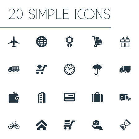 Elements Reward, Pay, Express Carriage And Other Synonyms Building, Lorry And Sandglass.  Vector Illustration Set Of Simple Handing Icons. Illustration