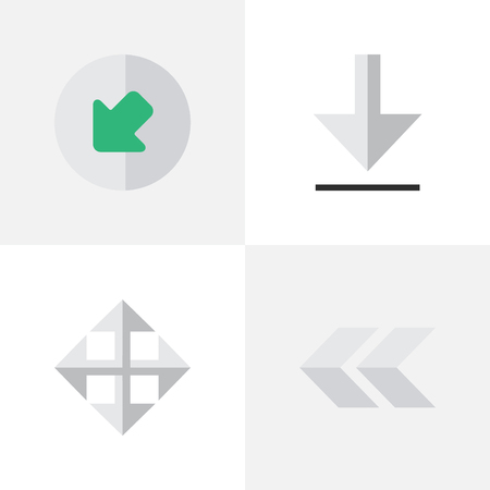 Elements Northwestward, Widen, Loading And Other Synonyms Rearward, Northwest And Widen.  Vector Illustration Set Of Simple Cursor Icons.