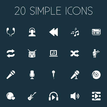 Elements Synthesizer, Backwards, Barrel And Other Synonyms Recorder, Musical And Earmuff.  Vector Illustration Set Of Simple Melody Icons.