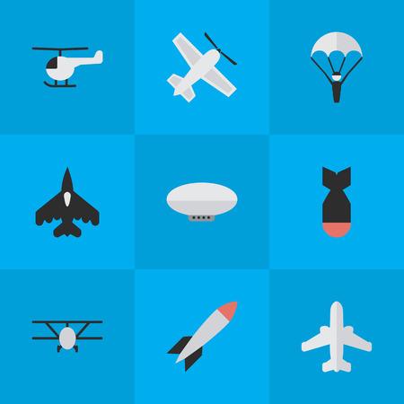 Elemente Passagierflugzeug, Katapulte, fliegendes Fahrzeug und andere Synonyme Fallschirm, Katapulte und Passagierflugzeug. Vektor-Illustrations-Satz einfache Flugzeug-Ikonen. Standard-Bild - 85820967