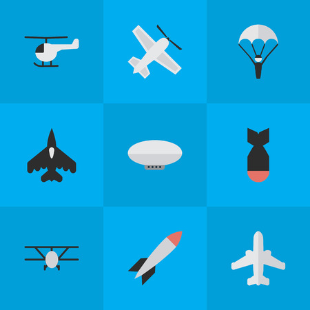 Elements Airliner, Catapults, Flying Vehicle And Other Synonyms Parachute, Catapults And Airliner.  Vector Illustration Set Of Simple Airplane Icons.