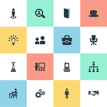Elements Take On Worker, Winner, Friendship And Other Synonyms Group, Advancement And Mechanism.  Vector Illustration Set Of Simple  Icons.