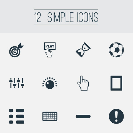 Elements Touch Screen, Display, Hourglass And Other Synonyms Cursor, Soccer And Select.  Vector Illustration Set Of Simple Play Icons.