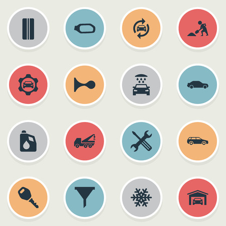 Elements Vehicle Building, Workshop, Snowflake And Other Synonyms Fixing, Alert And Cogwheel.  Vector Illustration Set Of Simple Auto Icons.