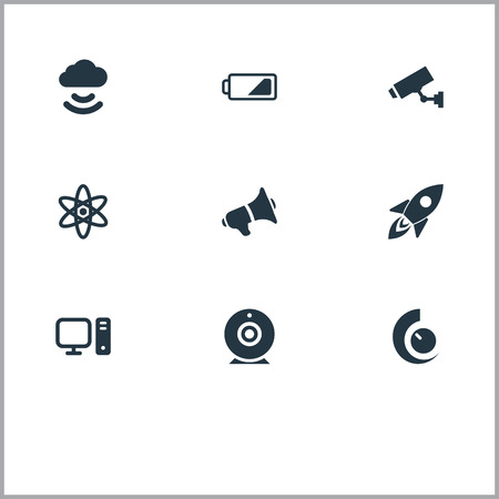 Elements Cctv, Cloud Signal, Web Cam And Other Synonyms Camera, Bullhorn And Rocket.  Vector Illustration Set Of Simple Hitech Icons. Illustration