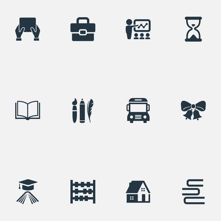 Elementen Omnibus, leren, hoed en andere synoniemen Kerst, zandloper en decoratie. Vectorillustratiereeks Eenvoudige Schoolpictogrammen. Stock Illustratie