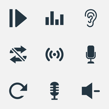 phone: Elements Ear, Wave, Microphone And Other Synonyms Audio, Movie And Minus.  Vector Illustration Set Of Simple Music Icons. Illustration