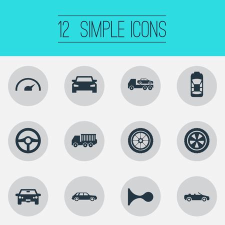 要素円、クーペ、回転および他の類義語の自動車を避難させるとクーペ。 簡単な自動アイコンのベクター イラスト セット。