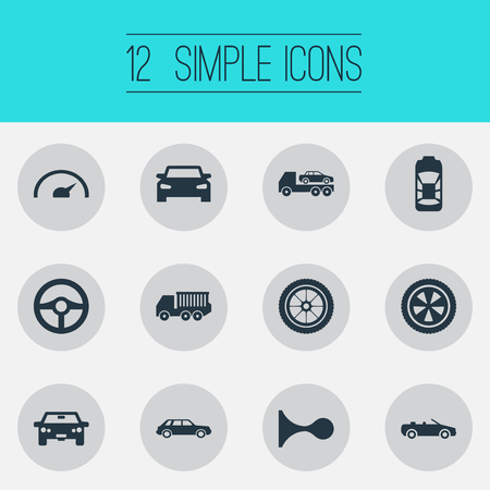 요소 원, 쿠 페, 회전 및 다른 동의어 자동차, 대피 및 쿠 페입니다. 벡터 일러스트 레이 션 간단한 자동 아이콘의 집합입니다.