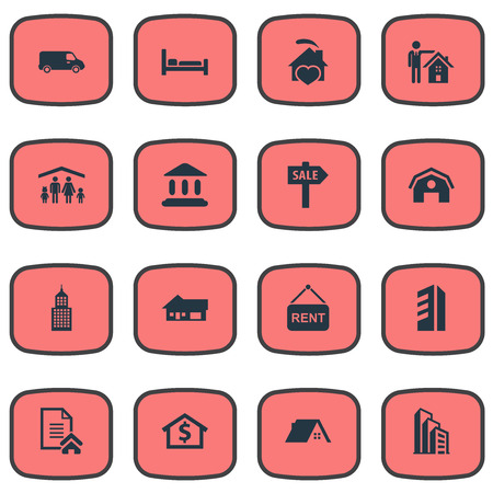 Elements Man, Truck, High-Rise And Other Synonyms Architecture, Residental And Comfort.  Vector Illustration Set Of Simple Real Icons. Banco de Imagens - 86096470