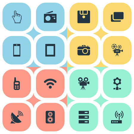 Elements Smartphone, Layout, Photographing And Other Synonyms Tablet, Wifi And Antenna.  Vector Illustration Set Of Simple Gadget Icons.