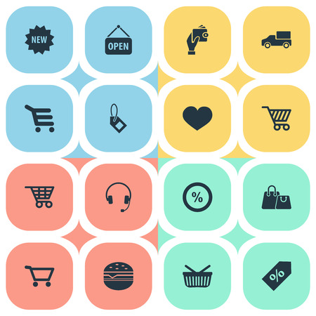 car isolated: Elements Fast Food, E-Commerece, Love And Other Synonyms Wallet, Label And Shopping.  Vector Illustration Set Of Simple Basket Icons.