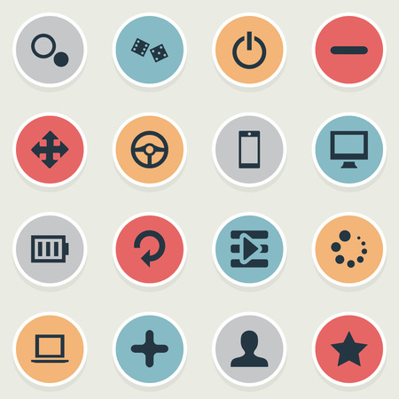 Elements Shut Down, Arrows, Phone And Other Synonyms Podcast, Circles And Screen.  Vector Illustration Set Of Simple Leisure Icons.