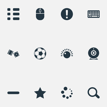 numbers: Elements Camera, Device, Football And Other Synonyms Click, Magnification And Delete.  Vector Illustration Set Of Simple Game Icons.