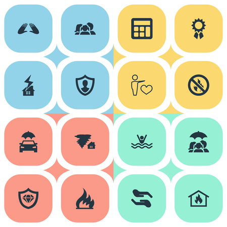 Elements No Blaze, Maintenance, Tornado And Other Synonyms Ignition, Insured And Lightning.  Vector Illustration Set Of Simple Insurance Icons. 向量圖像