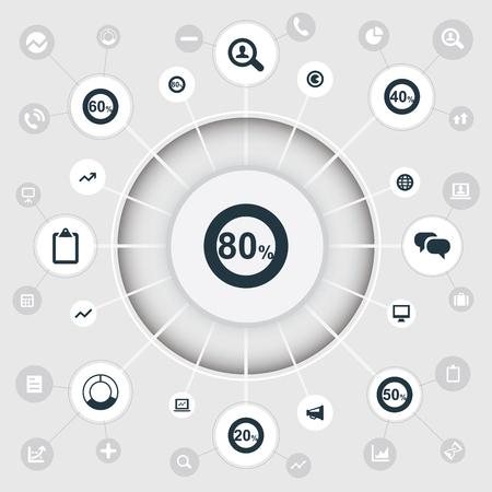 요소 화살표, 50, 드리프트 및 기타 동의어 세계, 40 및 용지. 벡터 일러스트 레이 션 간단한 다이어그램 아이콘의 집합입니다. 일러스트