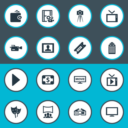 Elements Billfold, Photographing, Screen And Other Synonyms Narrator, Purse And Currency.  Vector Illustration Set Of Simple Cinema Icons.