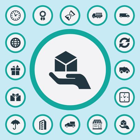 Elementen aanwezig, vrachtvracht, transport en andere synoniemenbank, vernieuwen en zandloper. Vector illustratie Set van eenvoudige distributie iconen.