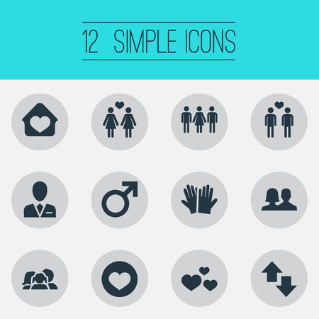 Elements Direction, Amour, Barrister And Other Synonyms Barrister, Candidate And Home.  Vector Illustration Set Of Simple Beloved Icons. 向量圖像