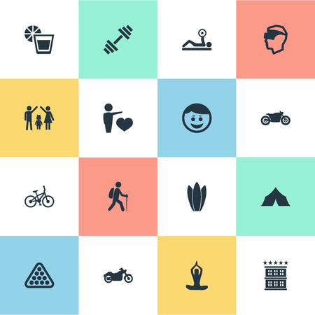 Elementen motorfiets, scooter, sap en andere synoniemen Hotel, motorfiets en sport. Vector illustratie Set van eenvoudige mode-iconen.