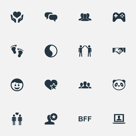 Elements Unity, Homosexual, Lover And Other Synonyms Favorite, Human And Crowd.  Vector Illustration Set Of Simple Fellows Icons. Illusztráció