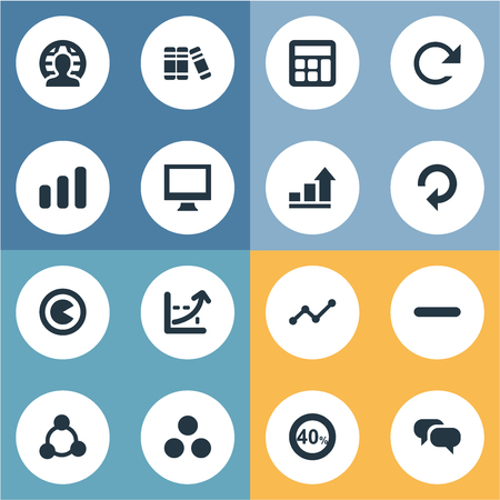 Elements Coordinate Axis, Surge, Line Chart And Other Synonyms Calculator, Dialog And Book.  Vector Illustration Set Of Simple Diagram Icons.