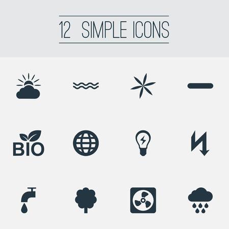 Elementen Weer, Aarde, Natuurvoeding en Andere Synoniemen Mariene, zee en kraan. Vector illustratie Set van eenvoudige energie pictogrammen.