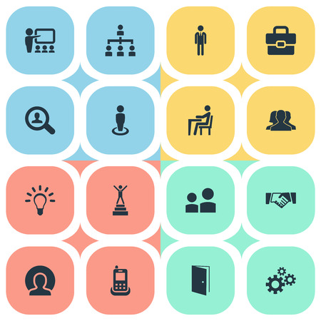 Elements Cogwheel, Telephone, Winner And Other Synonyms Man, Agreement And Demonstration.  Vector Illustration Set Of Simple  Icons.