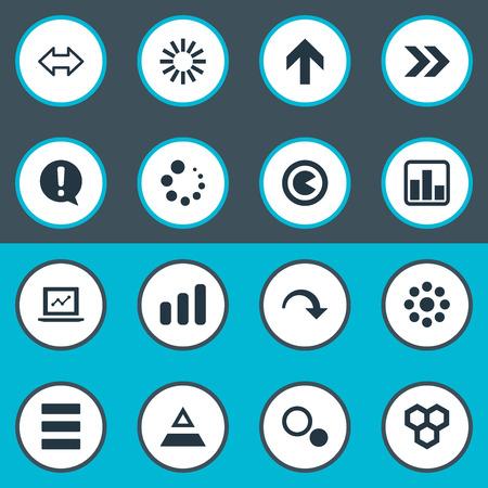 요소 노트북, 하이브, 쇠퇴 및 기타 동의어 마케팅, 느낌표 및 성장. 벡터 일러스트 레이 션 간단한 아이콘의 집합입니다.