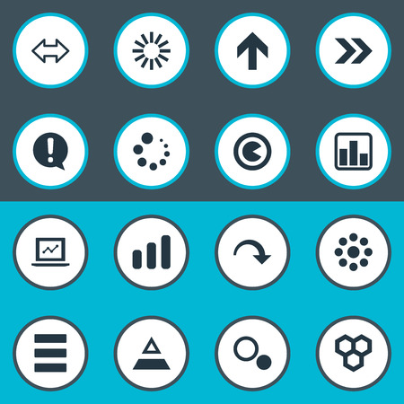 Elements Laptop, Hive, Decline And Other Synonyms Marketing, Exclamation And Growth.  Vector Illustration Set Of Simple  Icons.