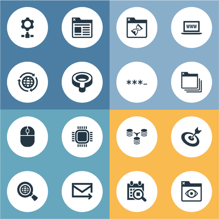 Elements Webpage, Look, Aim And Other Synonyms Password, Processor And Junction.  Vector Illustration Set Of Simple Optimization Icons. Imagens - 86096532