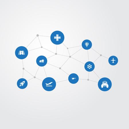 Elementenkruising, Cementmachine, Start en Andere Synoniemen Raket, Aerocab en Straat. Vector illustratie Set van eenvoudige vervoer iconen. Stock Illustratie