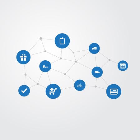 Elementen Trailer, vervoer, kalender en andere synoniemen controleren, gedaan en levering. Vector illustratie Set van eenvoudige distributie iconen.