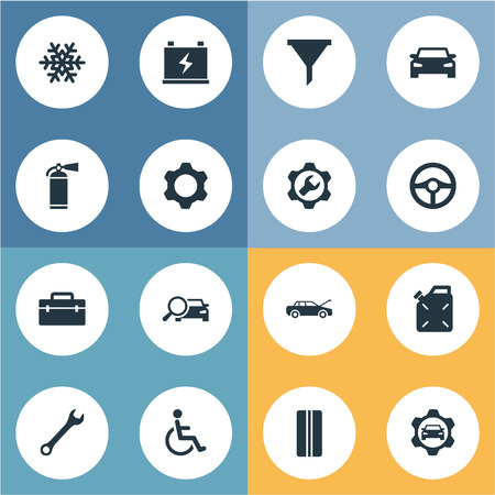 Vector Illustration Set Of Simple Auto Icons. Elements Toolbox, Servicing, Search And Other Synonyms Steering, Wheel And Search.