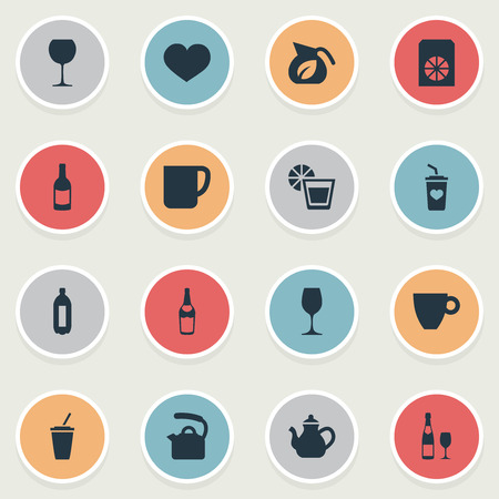 Vector Illustration Set Of Simple Beverage Icons. Elements Favorite, Jug, Soft Drink And Other Synonyms Beverage, Herbal And Favorite.