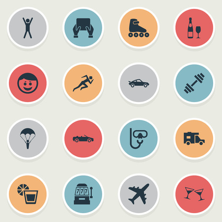 Vector Illustration Set Of Simple Health Icons. Elements Car, Plane, Champagne And Other Synonyms Happy, Van And Vacation.